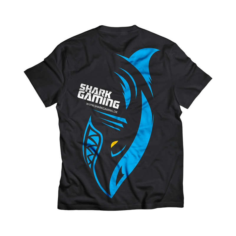Shark Gaming t-shirt - Sort - XL