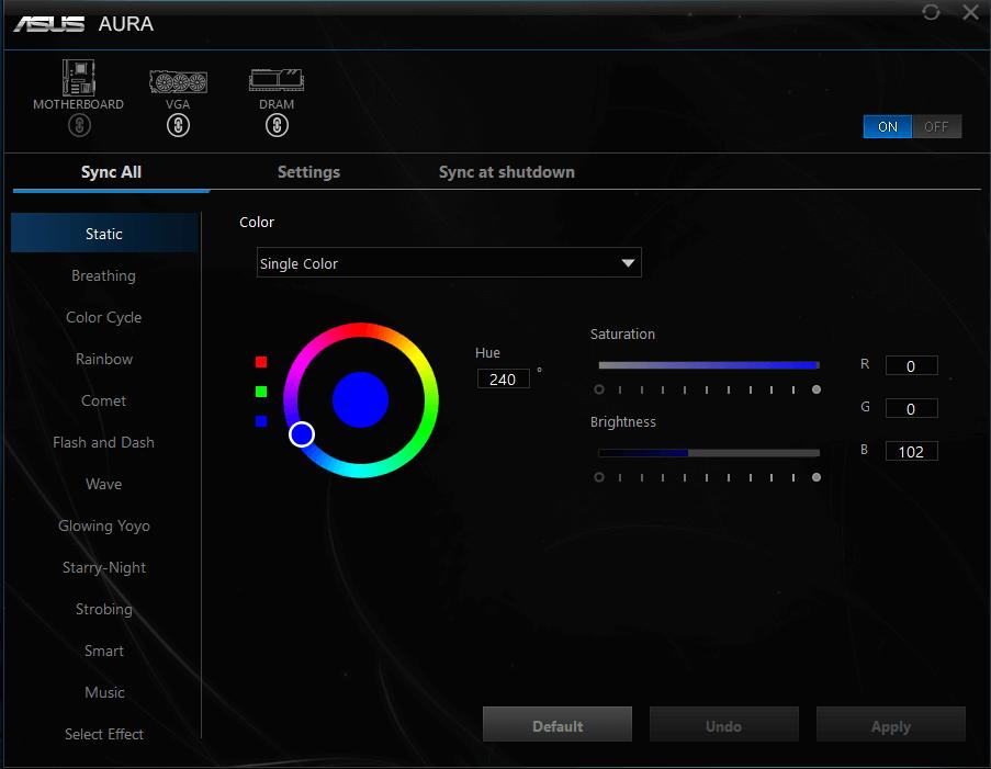 AURA interface med blå farve og grafikkort+dram