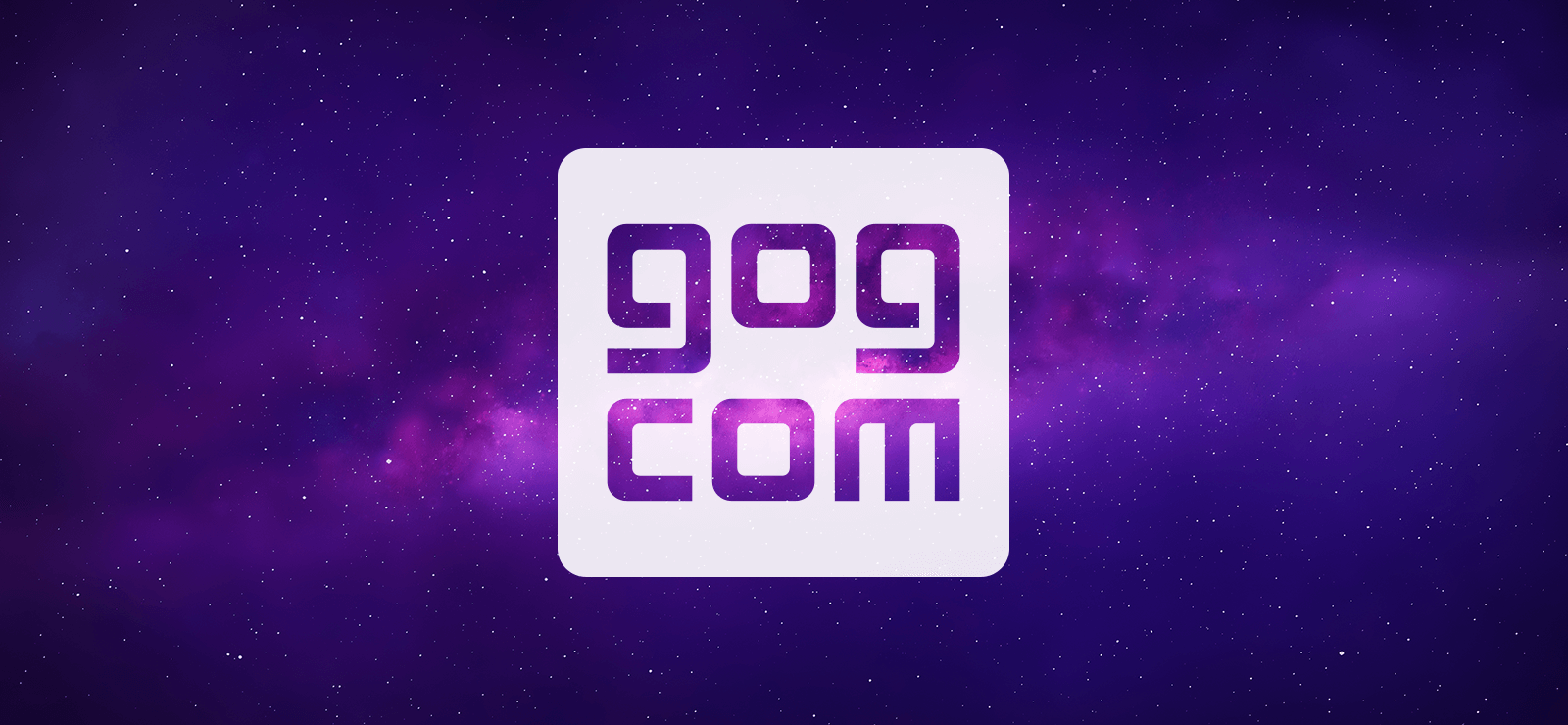 Stort GOG.com logo med stjerner i baggrunden