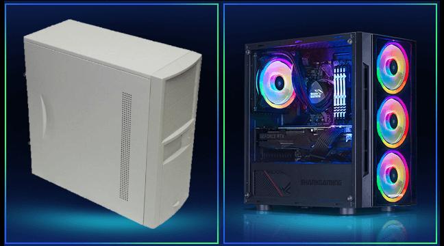 Gammel computer sat imod en ny Shark Gaming Computer